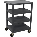 Luxor Four Flat Shelf Strutural Foam Plastic Cart: Black