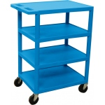 Luxor Four Flat Shelf Strutural Foam Plastic Cart: Blue