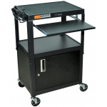 Luxor Adjustable Height Steel Cart with Cabinet & Pullout Tray: Black