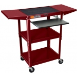 Luxor Steel Adjustable Cart with Keyboard & Drop Leaf Shelves: Burgundy