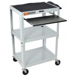 Luxor Adjustable Height Steel Cart with Pullout Keyboard Tray: Gray