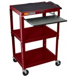 Luxor Adjustable Height Steel Cart with Pullout Keyboard Tray: Burgundy