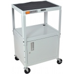 Luxor Steel Adjustable Height AV Cart with Cabinet: Gray