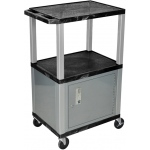 Luxor Tuffy Cart 3 Shelves Nickel Legs with Cabinet: Black