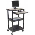 "Luxor Black Micro 3 Shelf Computer Workstation: Black, 41"" H"