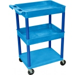 Luxor Top/Middle Tub & Flat Bottom Shelf Cart: Blue with Blue Legs