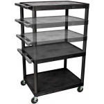 "Luxor Multi Height AV Cart 3 Shelves: Black, 3 Electric Outlet, 16"" - 42"""