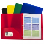 Assorted Two Pocket Poly Portfolios With Prongs Pack Of 10
