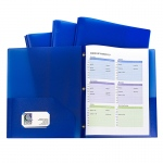 Blue Two Pocket Poly Portfolios With Prongs Pack Of 10