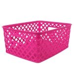 Small Hot Pink Woven Basket