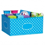 Small Aqua Polka Dots Storage Bin