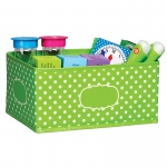 Small Lime Polka Dots Storage Bin