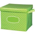Lime Polka Dots Storage Bin W/ Lid