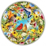 Backyard Birds Round Table Puzzle
