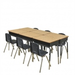 "6 Desks W/ Metal Basket & 6-14"" NVG Chairs"