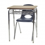 "24 Desks W/ Chrome Basket & 24-14"" NVG Chairs"