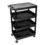 Luxor Large Flat Top / Tub Bottom Shelf Cart - 4 Shelves