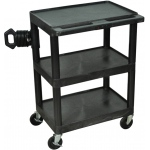 Luxor Heavy Duty AV Cart 3 shelves: Black, 3 Electric Outlet