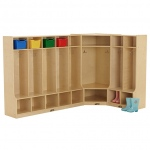 ECR4Kids Birch Coat Lockers w/Bench Set-2, 5 & Corner