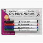 Dry Erase Marker Thin Line 4 Pk Assorted Colors