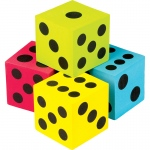 4 Pack Foam Colorful Jumbo Dice