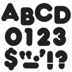 (6 Pk) Ready Letters 3in Black Casual 123 Per Pk