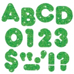 (6 Pk) Ready Letters 3in Green Sparkle Casual 123 Per Pk