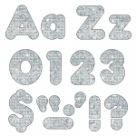 (3 Pk) Ready Letters 4in Silver Sparkle Casual Combo