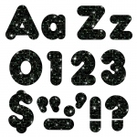 (3 Pk) Ready Letters 4in Black Sparkle Casual Combo
