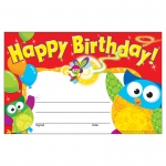 (12 Pk) Happy Birthday Owl Stars Recognition Awards
