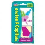 (12 Ea) Pocket Flash Cards 56-Pk States & Capitals 3x5 2-Sided Crds