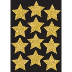 (6 Pk) Die Cut Magnets 3in Gold Sparkle Stars