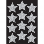 (6 Pk) Die Cut Magnets 3in Silver Sparkle Stars
