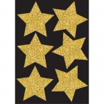 (6 Pk) Die Cut Magnets 4in Gold Sparkle Stars