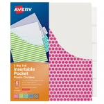 (6 Pk) Avery Big Tab 5 Tab Pocket Insertable Plastic Dividers Set