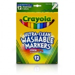 (3 Bx) Crayola Washable Markers 12ct Per Bx Asst Clrs Fine Tip