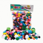 (4 Pk) Pom Poms Asst Sizes & Colors 300 Per Pk