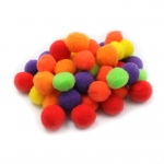 (12 Pk) Pom Poms 1in Hot Colors 50 Per Pk