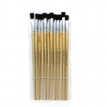 (4 St) Brushes Easel Flat 1/2in Bristle 12 Per Set