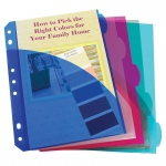 (12 Pk) Mini Size 5 Tab Poly Index Dividers With Pockets 5 Per Pk