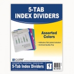 (12 Pk) 5 Tab Poly Index Dividers Assorted 5 Per Pk