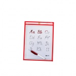(10 Pk) C-Line Reusable 9x12 Dry Erase Pockets Red Neon