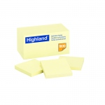 (3 Pk) Highland Self Stick 18 Pads Per Pk Removable Notes  3x3 Yellow