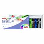 (6 Bx) Pentel 15 Per Pk Color Fabric Fun Dye Sticks Set