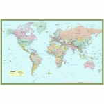 (2 Ea) World Map Laminated Poster 50x32