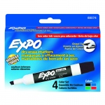 (3 Pk) Marker Expo 2 Dry Erase 4 Per Pk Chisel Blk Rd Blu Grn