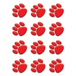 (12 Pk) Red Paw Prints Mini Accents