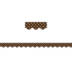 (12 Pk) Chocolate Polka Dots Scalloped Border Trim