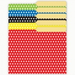 (6 Pk) Mini File Folders Assorted Polka Dots