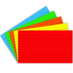(10 Pk) Border Index Cards 3x5 Lined Primary Clrs 75 Per Pk